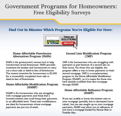 Free Special Report; Government Programs for Homeowners